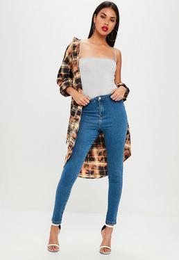 Blue Vice High Waisted Shadow Pocket Skinny Jeans
