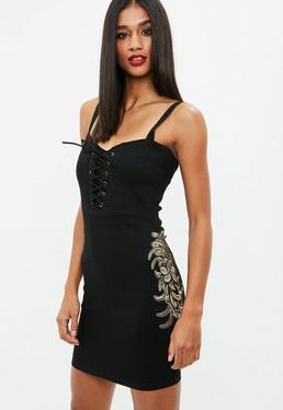 Czarna sukienka mini z wiązaniem
