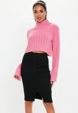 Black Denim High Waisted Midi Skirt