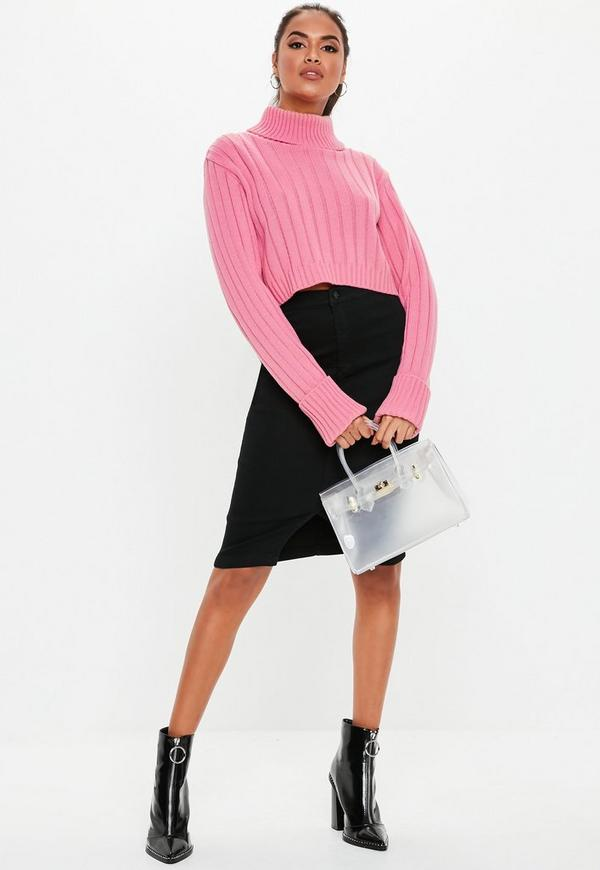 Black Denim High Waisted Midi Skirt | Missguided
