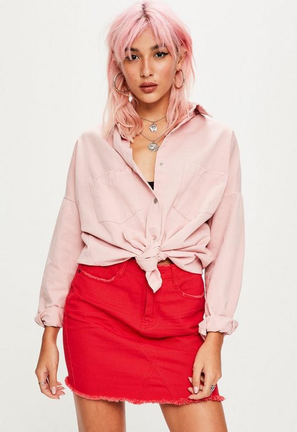 Pink Lovers Slogan Oversized Denim Shirt | Missguided