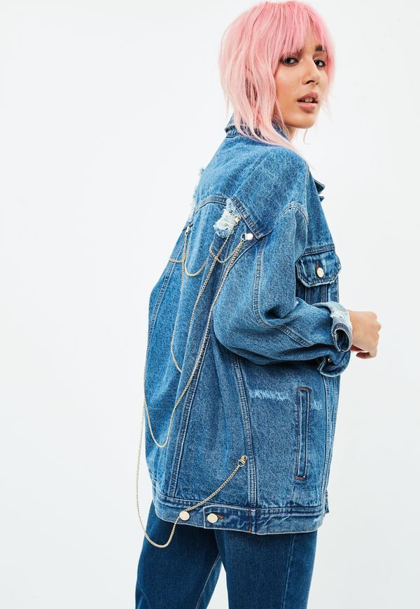 Blaue oversize jeansjacke mit ketten am r cken missguided - Jeansjacke damen oversize ...