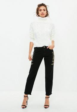 Czarne spodnie jeansy Mom