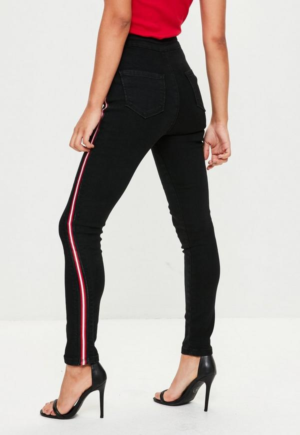 black vice high waisted side stripe skinny jeans missguided. Black Bedroom Furniture Sets. Home Design Ideas
