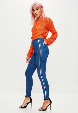 Blue Vice High Waisted Side Stripe Skinny Jeans