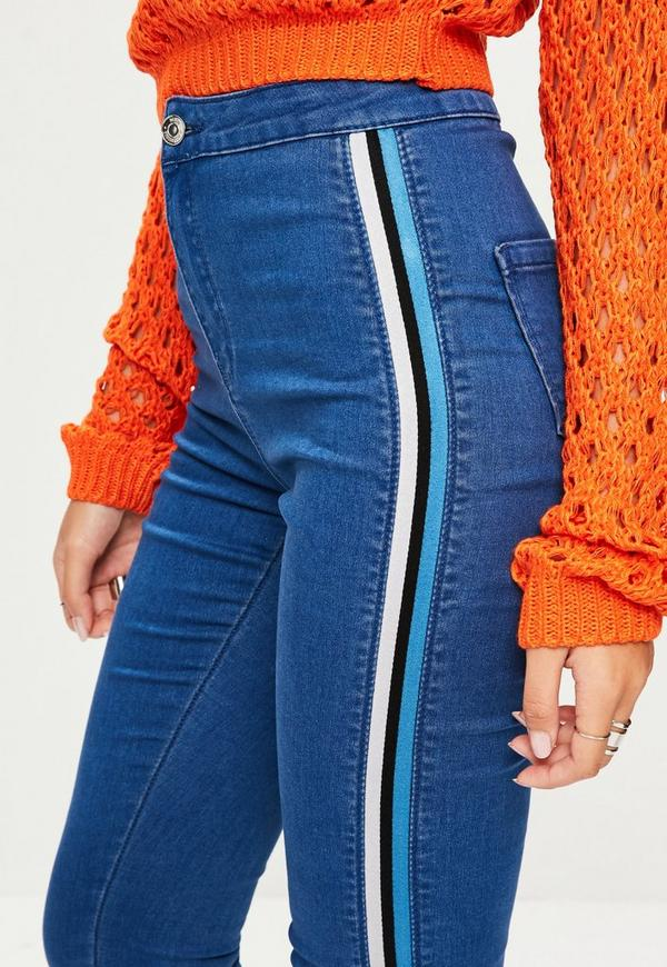 Blue Vice High Waisted Side Stripe Skinny Jeans Missguided