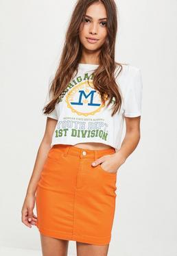 Orange Super Stretch Denim Mini Skirt