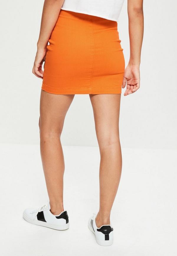 orange stretch denim mini skirt missguided australia