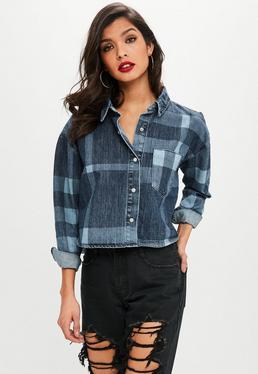 Blue Checked Oversized Denim Shirt