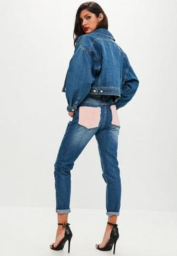 Blue Riot Faux Fur Pocket Mom Jeans