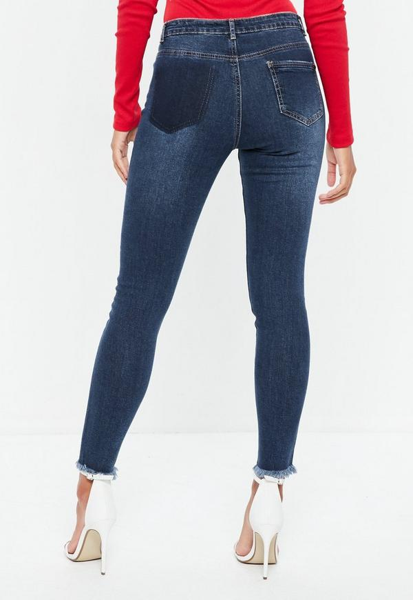 Blue Sinner High Waisted Seam Front Jeans   Missguided