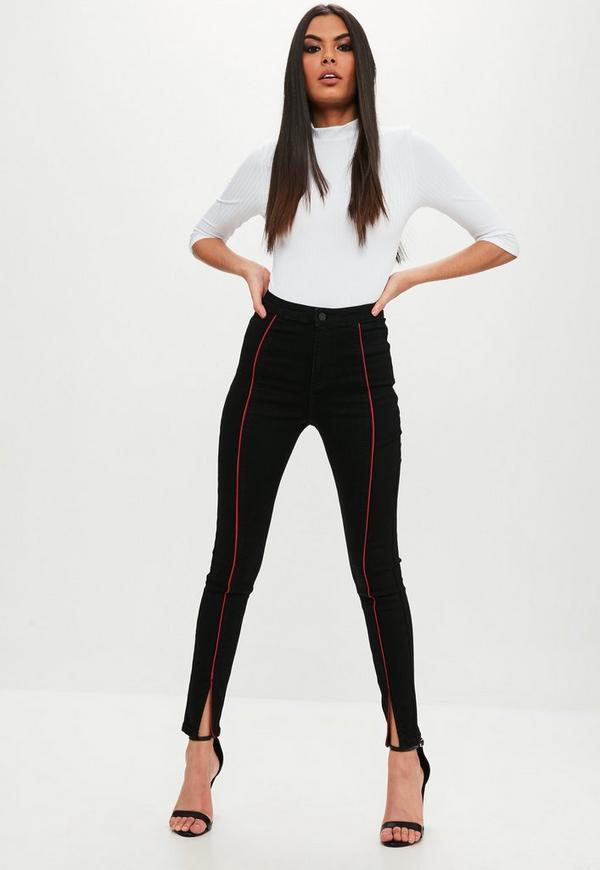 vice schwarze high waist jeans mit paspel missguided. Black Bedroom Furniture Sets. Home Design Ideas
