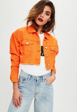 Orange Cropped Denim Trucker Jacket