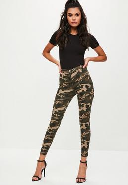 Jean skinny vert kaki imprimé camouflage
