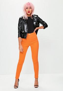 Pomarańczowe dopasowane spodnie jeansy Vice
