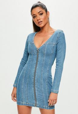 Niebieska jeansowa sukienka z zamkiem z przodu
