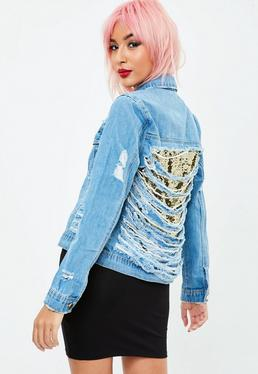 Blue Denim Shredded Back Jacket