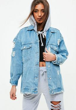 Blue Jersey Hooded Denim Jacket
