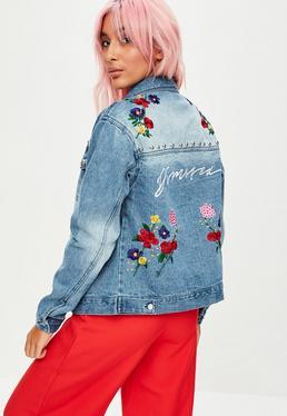 Blue Embroidered Studded Denim Jacket