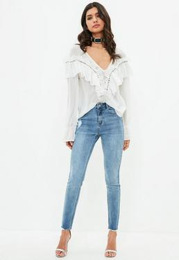 Blue Sinner Highwaisted Vintage Distressed Skinny Jeans