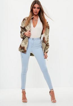 Niebieskie dopasowane jeansy Vice