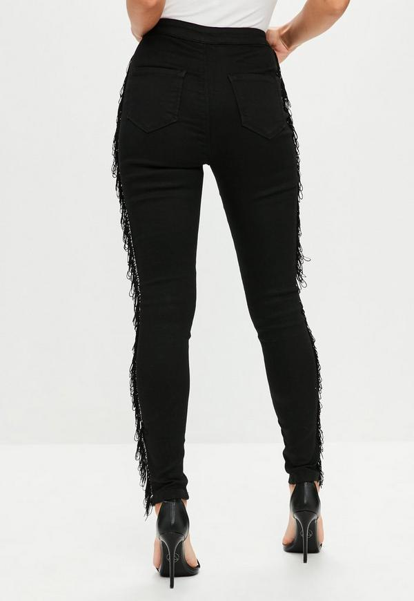 schwarze vice skinny jeans mit fransen seiten missguided. Black Bedroom Furniture Sets. Home Design Ideas