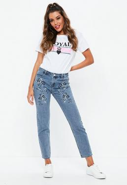 Niebieskie boyfriendowe jeansy Lust
