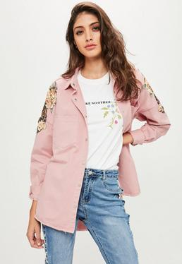 Pink Oversized Sequin Floral Badge Denim Shirt