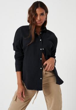 Black Oversized Washed Denim Shirt
