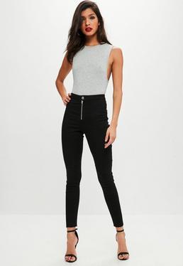Czarne jeansy z zamkiem z przodu