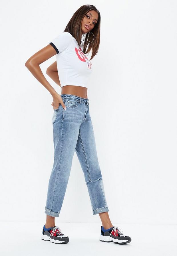Product photo of Blue lust drop hem low rise boyfriend jeans blue