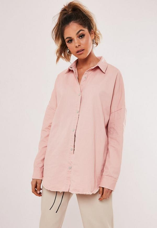 8542a9cb4d0 Pink Oversized Washed Denim Shirt