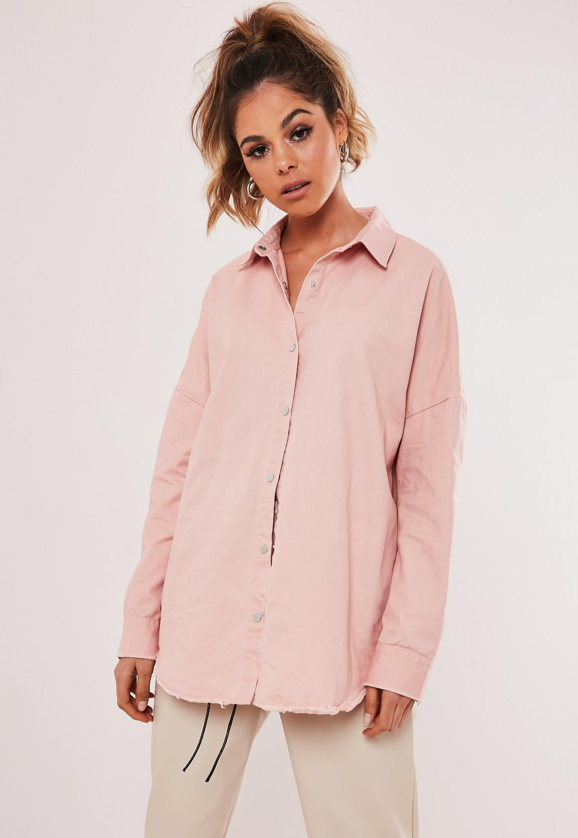Pink Oversized Washed Denim Shirt | Missguided