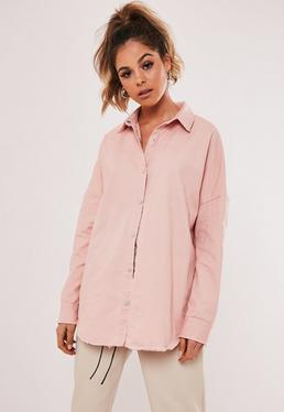 Pink Oversized Washed Denim Shirt