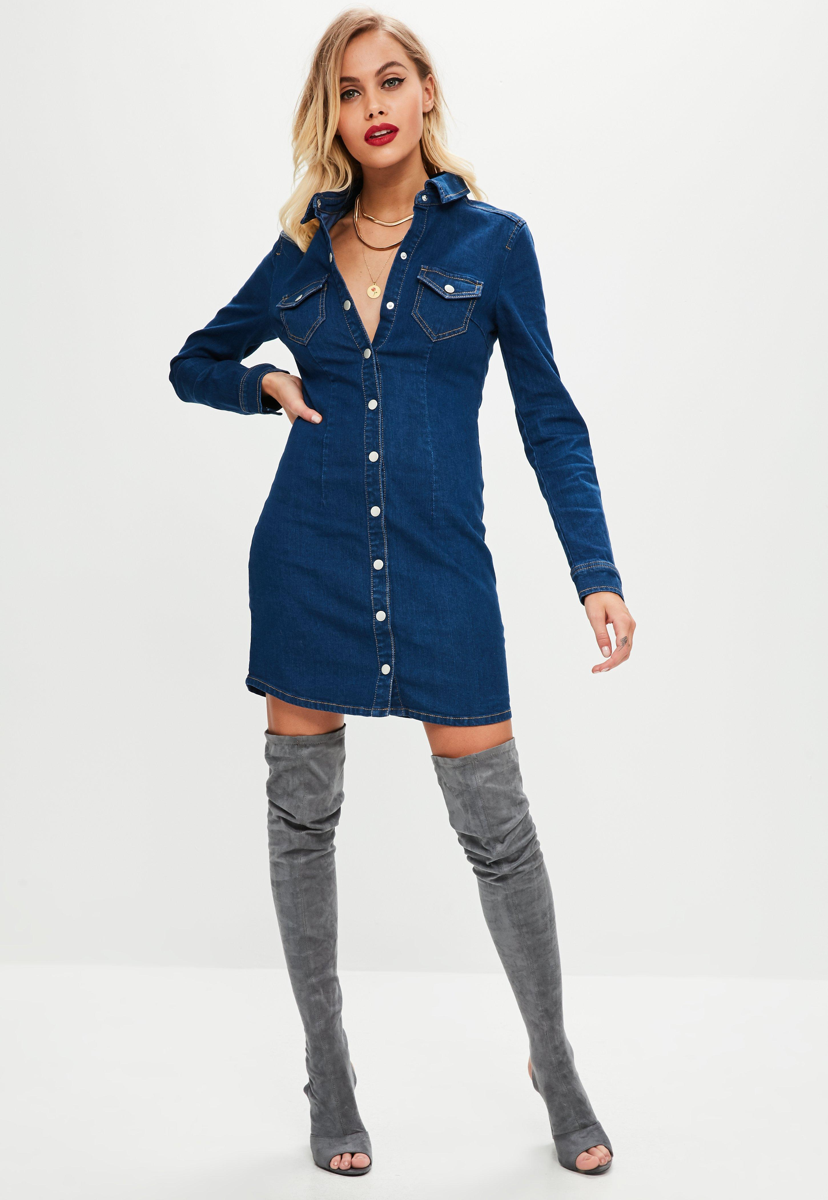Missguided Fitted Long Sleeve Button Denim Dress Outlet Store For Sale PlMB0AQJh2