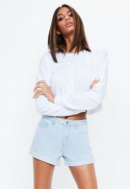 Blue High Waisted Turn Up Hem Denim Shorts