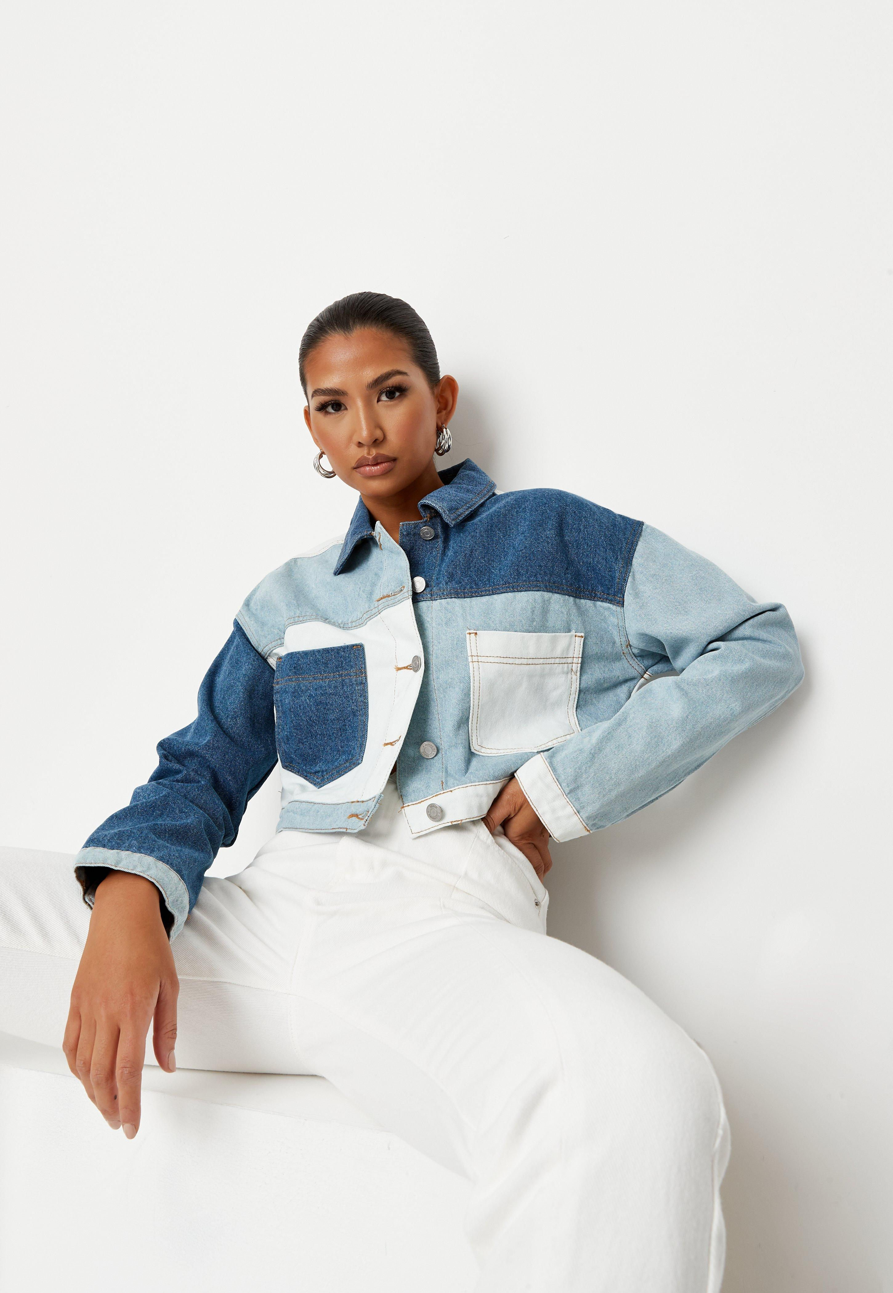 4c0a90c14 Blue Denim Contrast Patchwork Cropped Boxy Jacket
