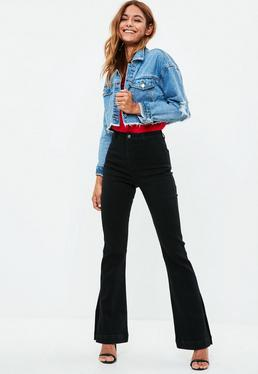 Black High Rise Split Flared Jeans
