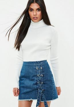 Blue Chunky Eyelet Lace Up Side Denim Skirt