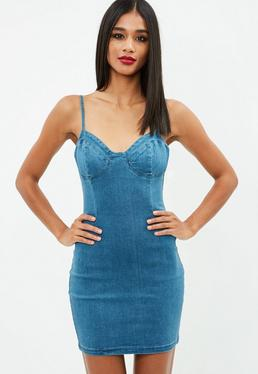 Blue Strappy Denim Mini Dress
