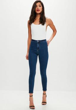 Blue Vice High Waisted Zip Ankle Grazer Jeans