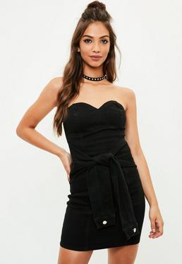 Black Strapless Denim Dress
