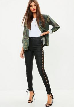 Black Side Lace Up Skinny Jeans