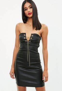 Back Vice Coated Denim Side Tie Mini Dress