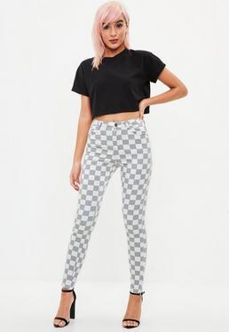 Gray Vice Highwaisted Checkboard Skinny Jean