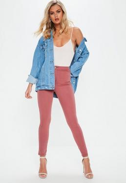 Różowe dopasowane spodnie Vice