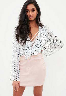 Minifalda vaquera elástica en rosa claro