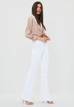 Białe spodnie z wysokim stanem