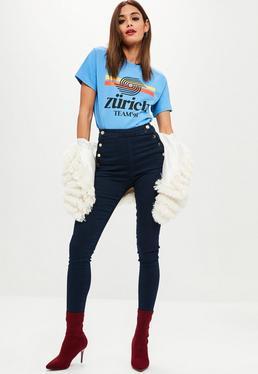 Granatowe jeansy Vice z wysokim stanem