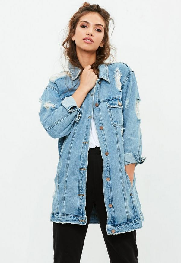 Barbie x Missguided Blue Longer Length Denim Jacket | Missguided ...